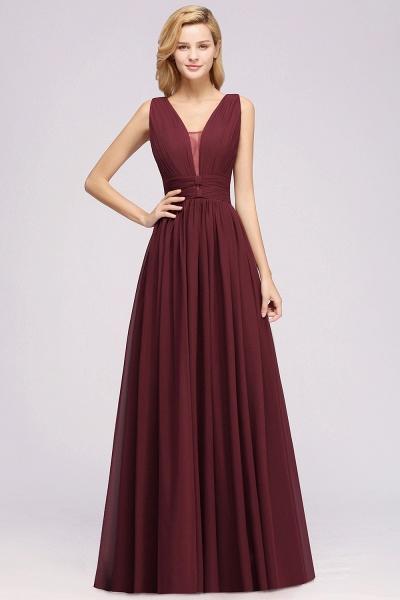BM0214 A-Line Chiffon V-Neck Sleeveless Long Bridesmaid Dress_2
