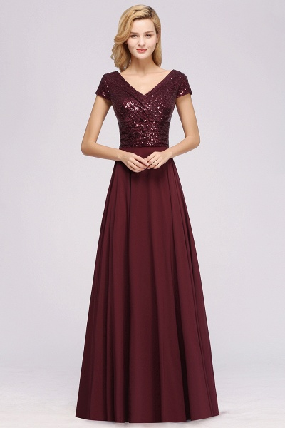 BM0156 A-Line Burgundy Chiffon Sequined V-Neck Sleeveless Ruffles Bridesmaid Dresses