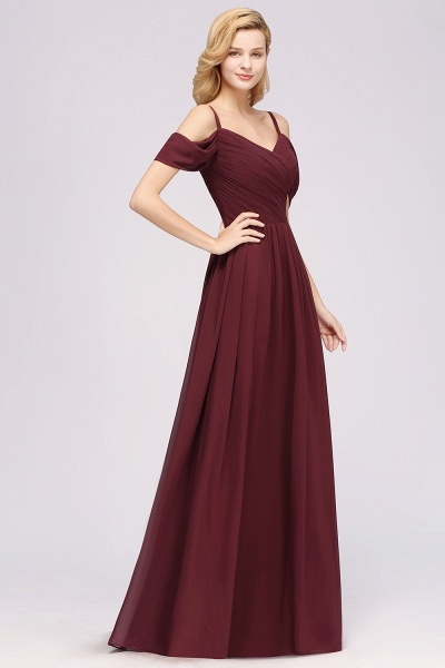 A-Line Chiffon V-Neck Spaghetti Straps Short-Sleeves Floor-Length Bridesmaid Dresses with Ruffles_38