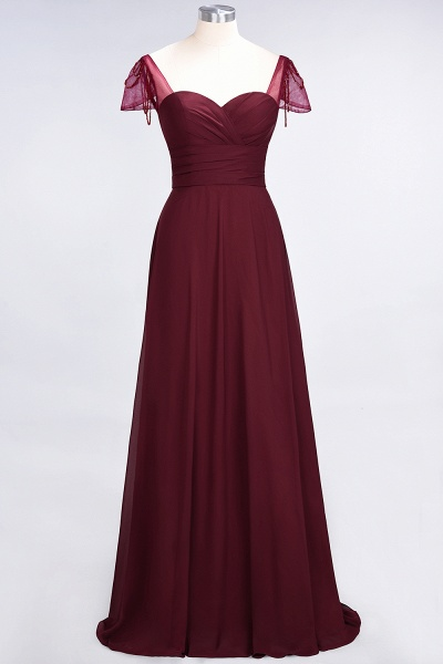 A-Line Chiffon Sweetheart Cap-Sleeves Ruffle Floor-Length Bridesmaid Dress with Beadings_35