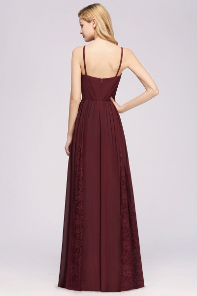 BM0213 A-Line Chiffon V-Neck Spaghetti Straps Long Bridesmaid Dress_7