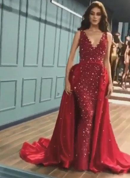 Marvelous V-neck Sequined Mermaid Prom Dress_2