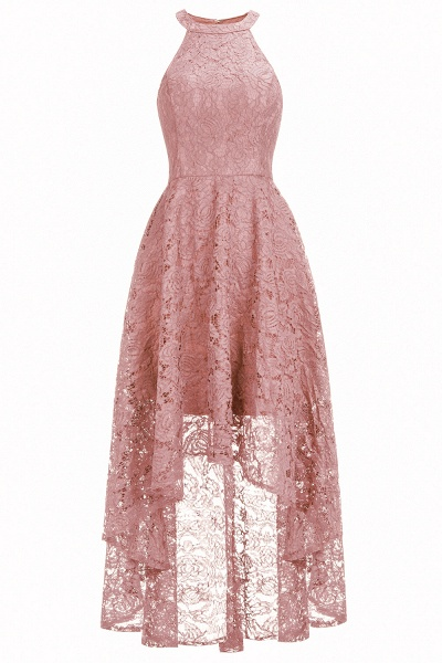 Burgundy Halter Sleeveless Sheath Lace Dresses_1