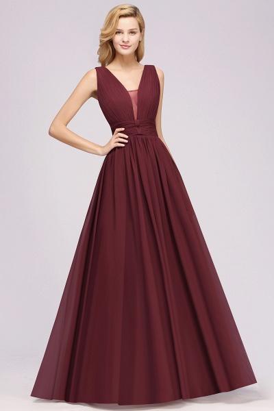 BM0214 A-Line Chiffon V-Neck Sleeveless Long Bridesmaid Dress_5