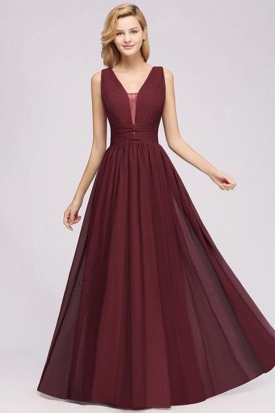 BM0214 A-Line Chiffon V-Neck Sleeveless Long Bridesmaid Dress_4
