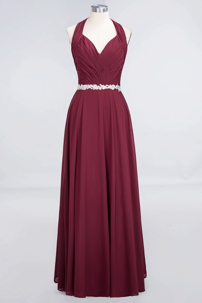A-Line Chiffon Halter V-Neck Sleeveless Ruffle Floor-Length Bridesmaid Dress with Appliques Sashes_9
