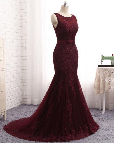 Attractive Scoop Tulle Mermaid Prom Dress_3