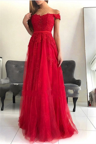 Marvelous Off-the-shoulder Tulle A-line Prom Dress_1