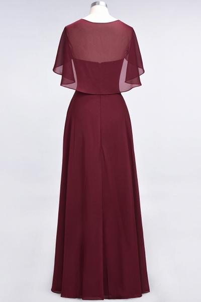 A-Line Chiffon Satin V-Neck short-sleeves Floor-Length Bridesmaid Dress_38