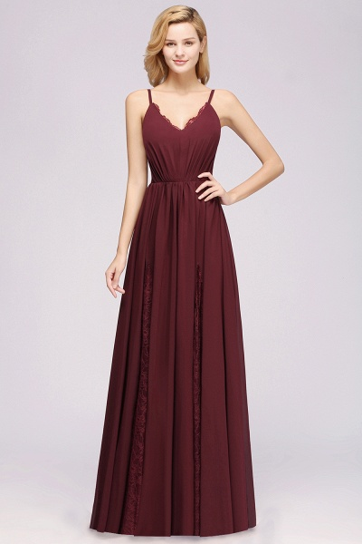 BM0213 A-Line Chiffon V-Neck Spaghetti Straps Long Bridesmaid Dress_9
