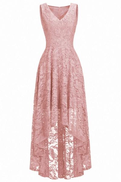A-line V-neck Sleeveless Burgundy Hi-lo Lace Dresses_1