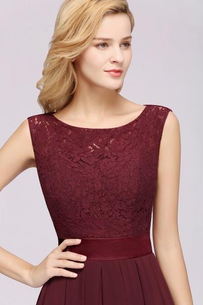 A-line Chiffon Lace Jewel Sleeveless Ruffles Floor-length Bridesmaid Dress_6