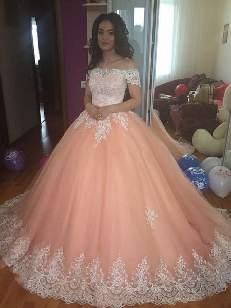 Chic Off-the-shoulder Tulle Ball Gown Prom Dress_1