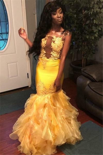 Eye-catching Strapless Tulle Mermaid Prom Dress_1