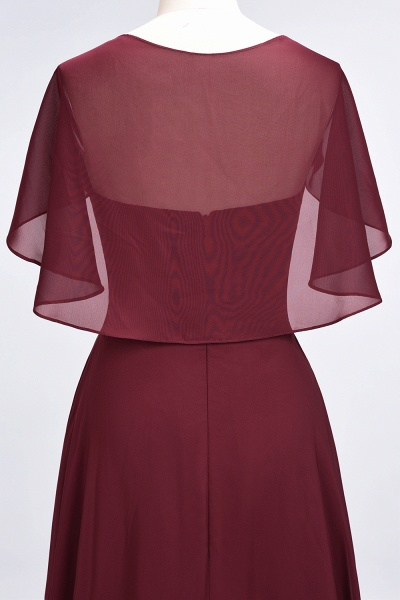 A-Line Chiffon Satin V-Neck short-sleeves Floor-Length Bridesmaid Dress_39