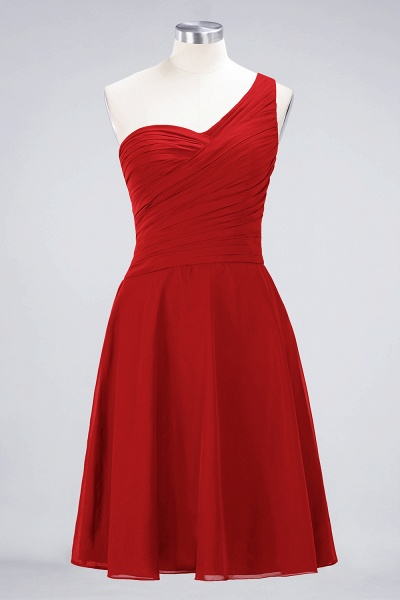 A-Line Chiffon One-Shoulder Sweetheart Sleeveless Knee-Length Bridesmaid Dress with Ruffles_8