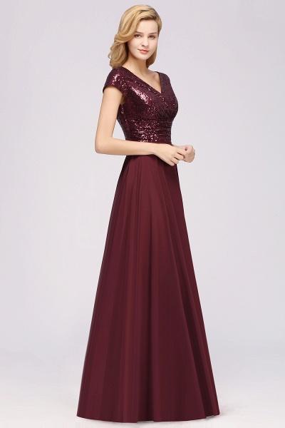 BM0156 A-Line Burgundy Chiffon Sequined V-Neck Sleeveless Ruffles Bridesmaid Dresses_6