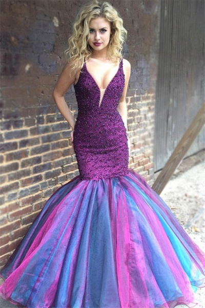 Elegant V-neck Rhinestone Mermaid Prom Dress_1