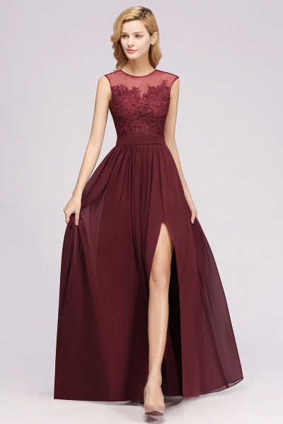 A-line Chiffon Lace Jewel Sleeveless Floor-Length Bridesmaid Dresses with Appliques_53