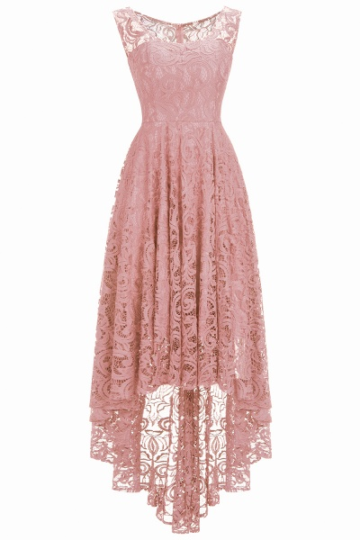 Elegant A-line Sleeveless Crew Hi-lo Lace Dress_1
