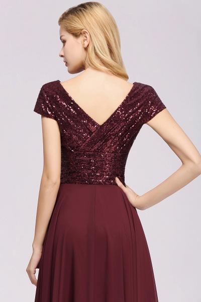BM0156 A-Line Burgundy Chiffon Sequined V-Neck Sleeveless Ruffles Bridesmaid Dresses_8