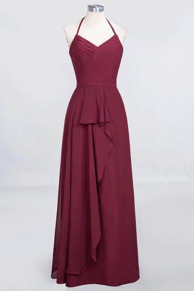 A-Line Chiffon Halter V-Neck Sleeveless Floor-Length Bridesmaid Dress with Ruffle_1