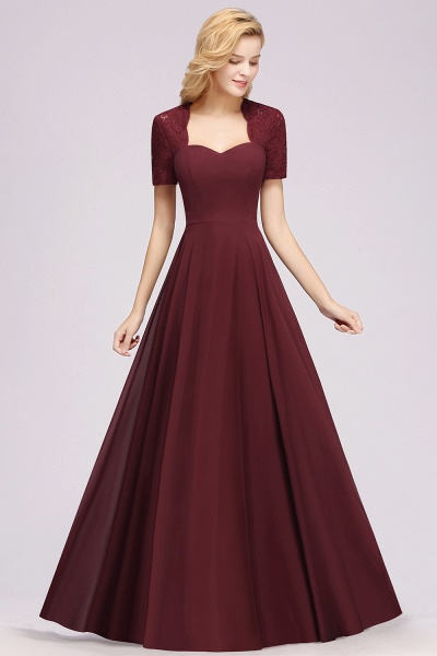 A-Line Chiffon Square Short Sleeves Bridesmaid Dress with Ruffle_27