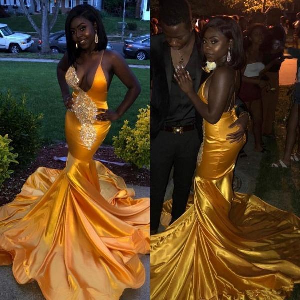 Latest Spaghetti Straps Lace Mermaid Prom Dress_3