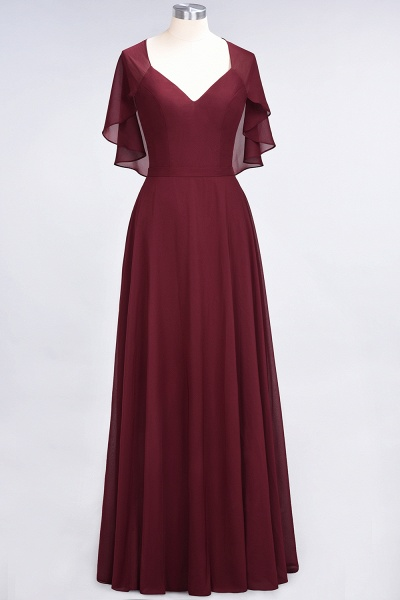 A-Line Chiffon Satin V-Neck short-sleeves Floor-Length Bridesmaid Dress_37