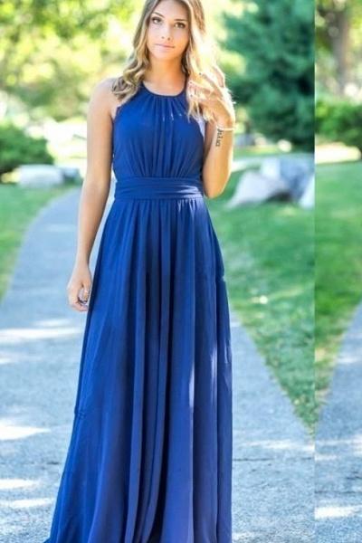 Ocean Blue Halter Chiffon Cheap Bridesmaid Dresses | A-line Open Back Floor-length Bridesmaid Dresses_2