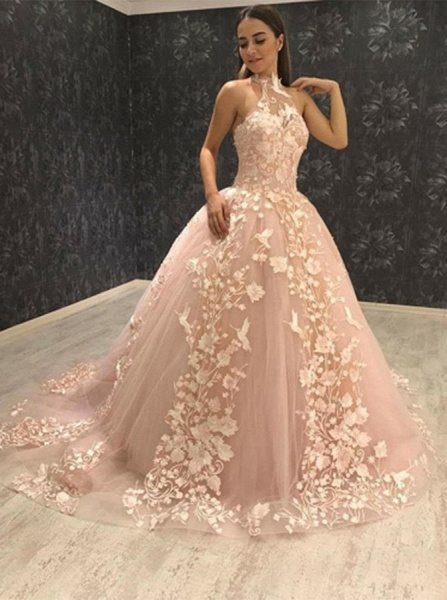 Beautiful Halter Tulle Ball Gown Prom Dress_3