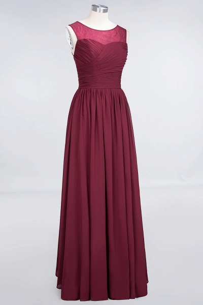 A-Line Chiffon Tulle Lace Scoop Sleeveless Floor-Length Bridesmaid Dress with Ruffle_3