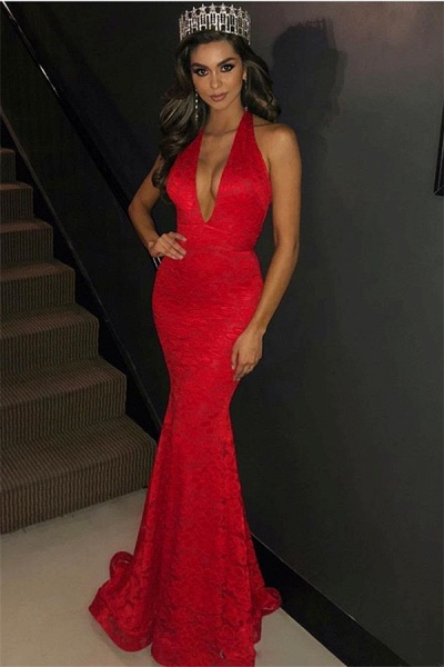 Beautiful V-neck Appliques Mermaid Prom Dress_1