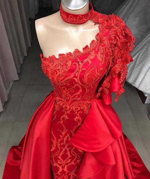 Amazing One Shoulder Appliques A-line Prom Dress_2