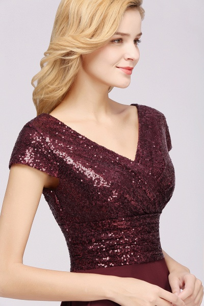 BM0156 A-Line Burgundy Chiffon Sequined V-Neck Sleeveless Ruffles Bridesmaid Dresses_7