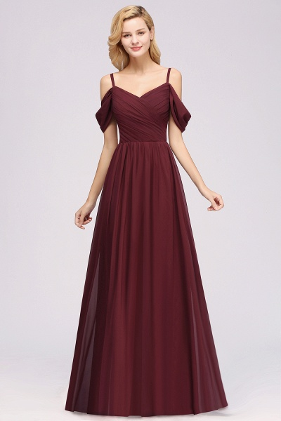 A-Line Chiffon V-Neck Spaghetti Straps Short-Sleeves Floor-Length Bridesmaid Dresses with Ruffles_37