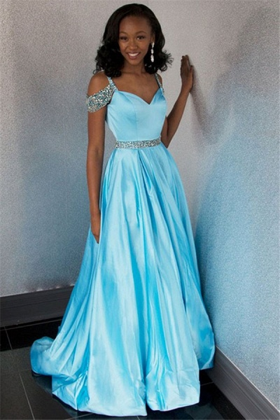 Affordable Off-the-shoulder Rhinestone A-line Prom Dress_3
