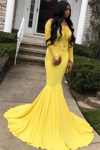 Precious Off-the-shoulder Appliques Mermaid Prom Dress_1