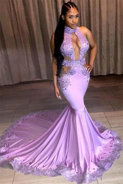 Modest Halter Lace Mermaid Prom Dress_1