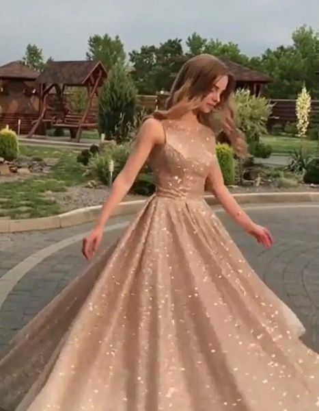 Eye-catching Jewel Sequined A-line Prom Dress_1