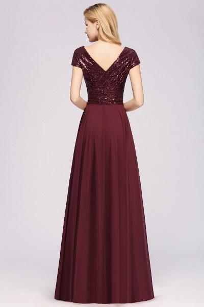 BM0156 A-Line Burgundy Chiffon Sequined V-Neck Sleeveless Ruffles Bridesmaid Dresses_2