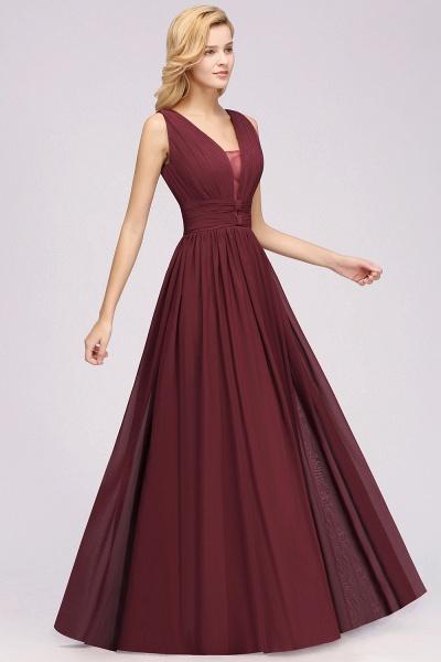 BM0214 A-Line Chiffon V-Neck Sleeveless Long Bridesmaid Dress_6