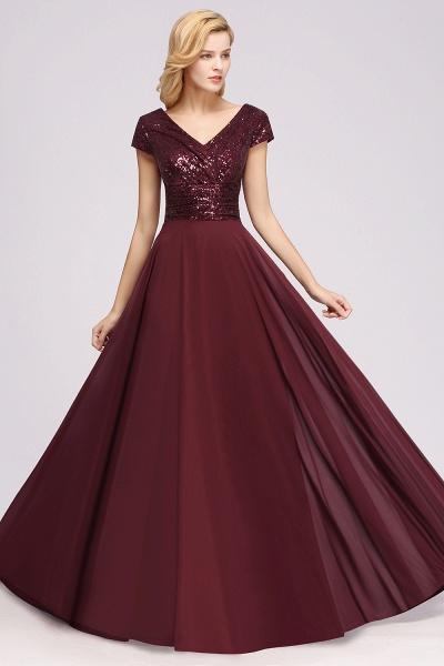 BM0156 A-Line Burgundy Chiffon Sequined V-Neck Sleeveless Ruffles Bridesmaid Dresses_5