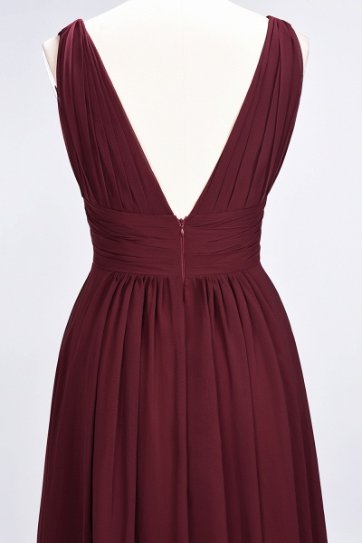 A-Line Chiffon V-Neck Sleeveless Floor-Length Bridesmaid Dress with Ruffle_40