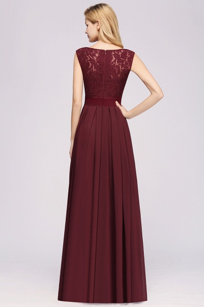 A-line Chiffon Lace Jewel Sleeveless Ruffles Floor-length Bridesmaid Dress_2