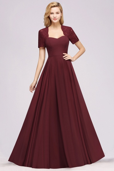 A-Line Chiffon Square Short Sleeves Bridesmaid Dress with Ruffle_28