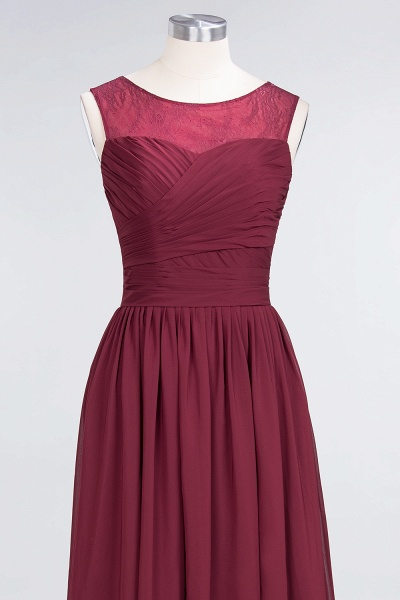 A-Line Chiffon Tulle Lace Scoop Sleeveless Floor-Length Bridesmaid Dress with Ruffle_4