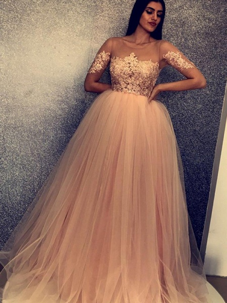 Fascinating Scoop Tulle A-line Prom Dress_3