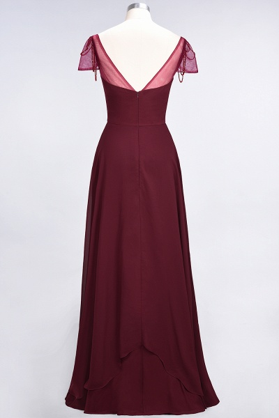 A-Line Chiffon Sweetheart Cap-Sleeves Ruffle Floor-Length Bridesmaid Dress with Beadings_36