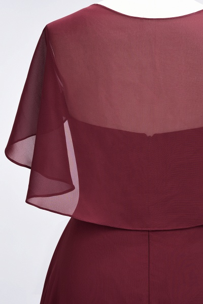 A-Line Chiffon Satin V-Neck short-sleeves Floor-Length Bridesmaid Dress_40